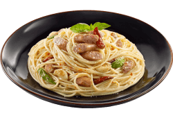 Stir fried pasta with spicy sausage